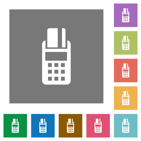 cardreader: POS terminal flat icon set on color square background. Illustration
