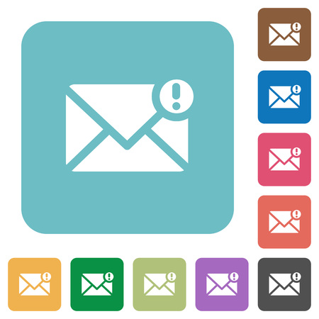 exclamatory: Flat important message icons on rounded square color backgrounds.