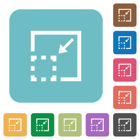 minimize: Flat minimize element icons on rounded square color backgrounds.
