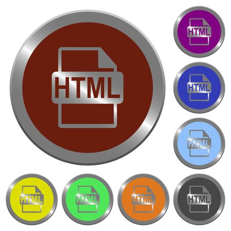 filetype: Set of color glossy coin-like HTML file format buttons. Illustration
