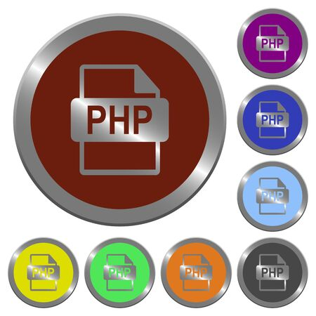 php: Set of color glossy coin-like PHP file format buttons.