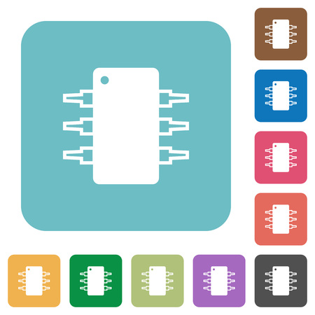 integrated circuit: Flat integrated circuit icons on rounded square color backgrounds.