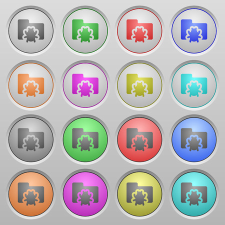 quarantine: Set of bug folder plastic sunk spherical buttons. Illustration