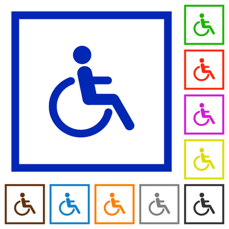 limitations: Set of color square framed disability flat icons