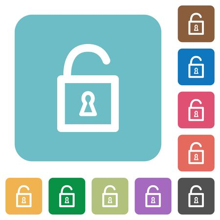 decrypt: Flat unlocked padlock icons on rounded square color backgrounds.