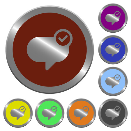 Set of color glossy coin-like message sent buttons.
