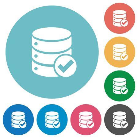 Flache Datenbank ok-Symbol auf Runde Farbe Hintergrund.