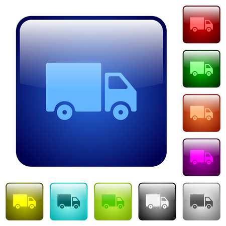 camion: Set of delivery color glass rounded square buttons