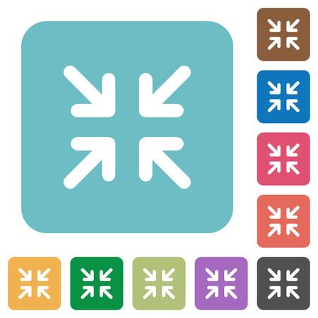 minimize: Flat minimize icons on rounded square color backgrounds. Illustration