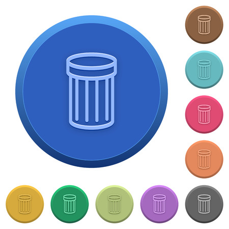wastage: Set of round color embossed trash buttons Illustration