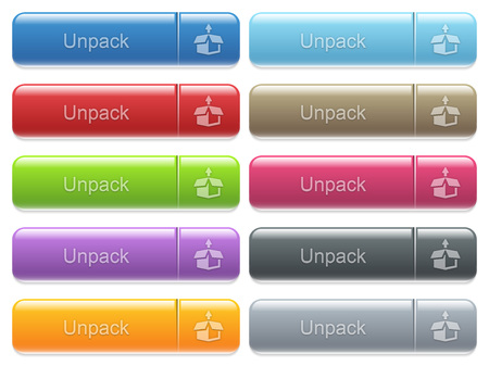 unpack: Set of unpack glossy color captioned menu buttons with embossed icons Illustration