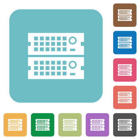webserver: Flat rack servers icons on rounded square color backgrounds.