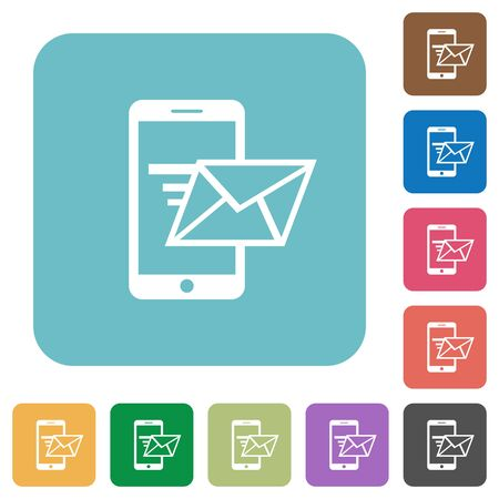 sending: Flat sending email icons on rounded square color backgrounds.