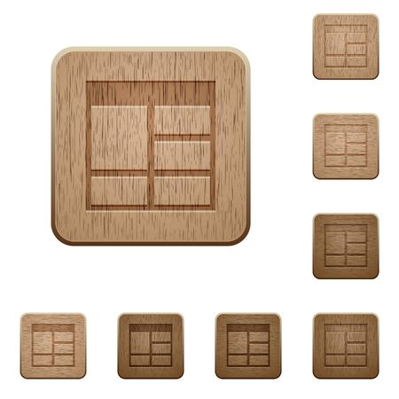 vertically: Set of carved wooden Spreadsheet vertically merge table cells buttons in 8 variations. Illustration