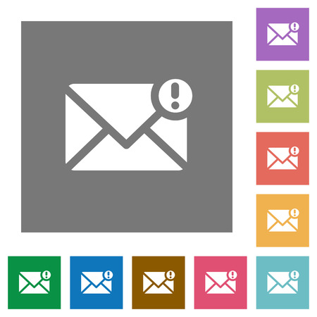 exclamatory: Message important flat icon set on color square background. Illustration