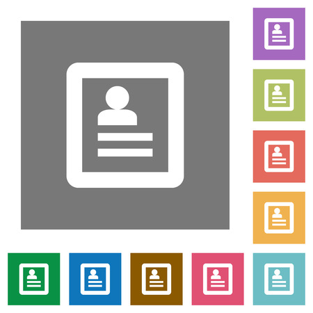 datasheet: User profile flat icon set on color square background.