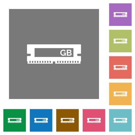 RAM module flat icon set on color square background.