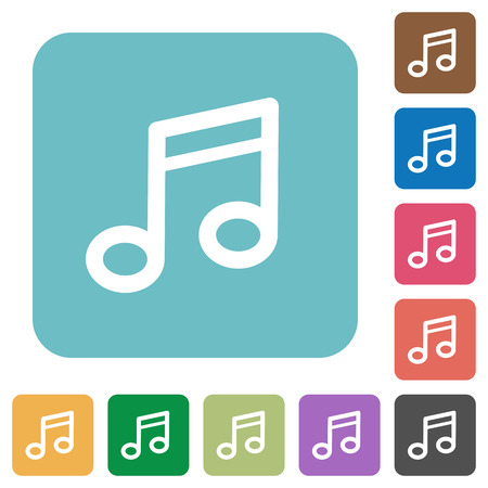 tact: Flat music note icons on rounded square color backgrounds.