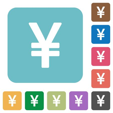 yen sign: Flat yen sign icons on rounded square color backgrounds. Illustration
