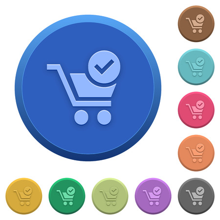 checkout: Set of round color embossed checkout buttons