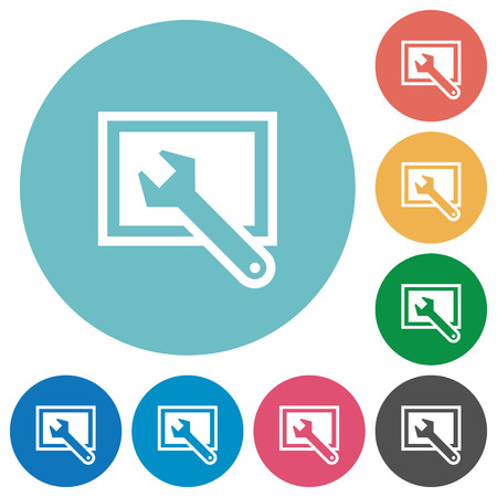 preset: Flat screen settings icon set on round color background. Illustration