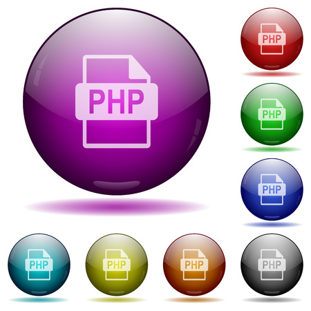 filetype: Set of color PHP file format glass sphere buttons with shadows. Illustration