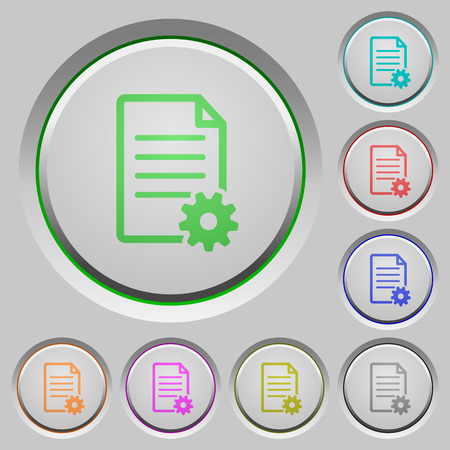 Set of color Document setup sunk push buttons.