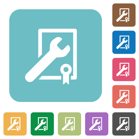 フラット賞を受賞したラウンド カラーの背景に設定] アイコン。  イラスト・ベクター素材