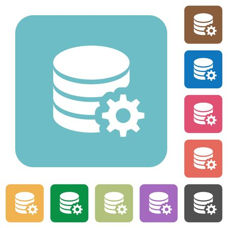 configuration: Flat database configuration icon set on round color background.