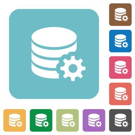 configuration: Flat database configuration icon set on round color background.
