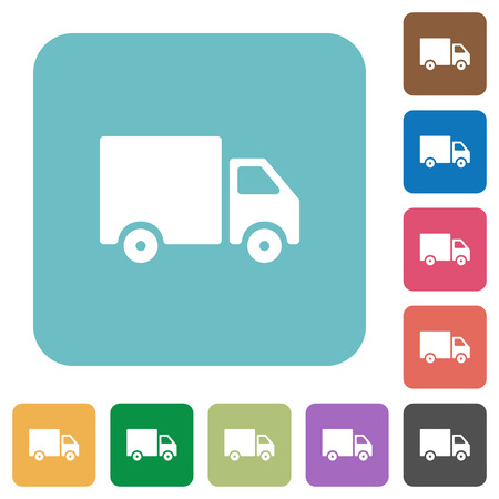 shipper: Flat delivery icon set on round color background. Illustration