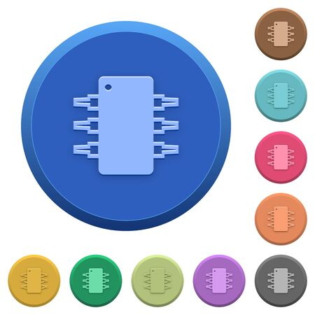 integrated circuit: Set of round color embossed integrated circuit buttons