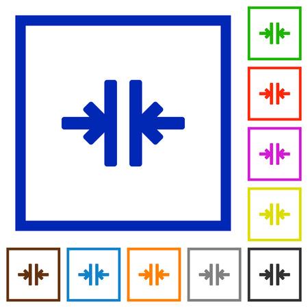 Set of color square framed Vertical merge flat icons Illustration