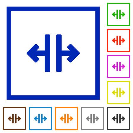 disrupt: Set of color square framed Vertical split flat icons