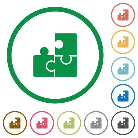 plugin: Set of puzzles color round outlined flat icons on white background Illustration