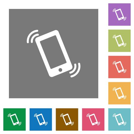 Ringing phone flat icon set on color square background.