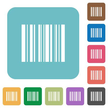 stockpile: Flat barcode icon set on round color background. Illustration