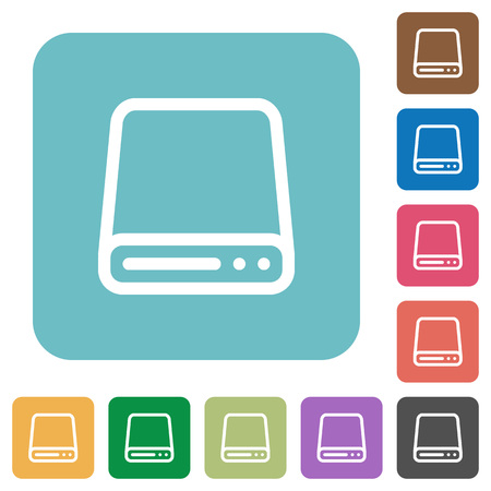 hard disk drive: Flat hard disk drive icon set on round color background.