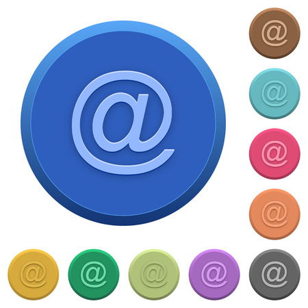 addressee: Set of round color embossed email symbol buttons