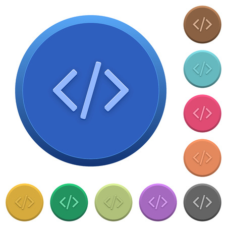 programming code: Set of round color embossed programming code buttons Illustration