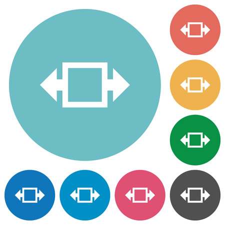 width: Flat width tool icon set on round color background. Illustration