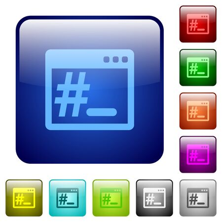 bash: Set of root terminal color glass rounded square buttons Illustration