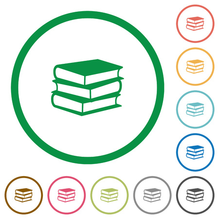 lexicon: Set of books color round outlined flat icons on white background Illustration