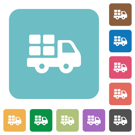 Flat transport icons on rounded square color backgrounds.