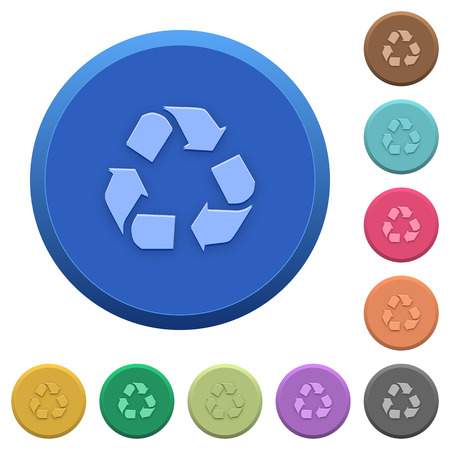 conservationist: Set of round color embossed recycling buttons