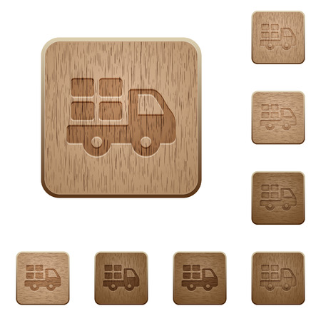 camion: Set of carved wooden Transport buttons in 8 variations.