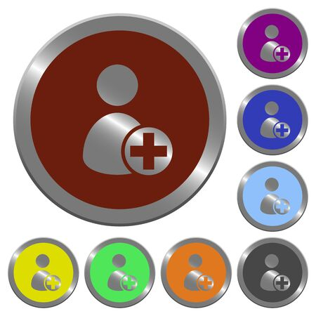 permissions: Set of color glossy coin-like Add new user buttons. Illustration