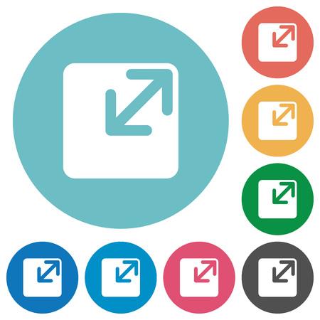 shrink: Flat resize window icon set on round color background. Illustration