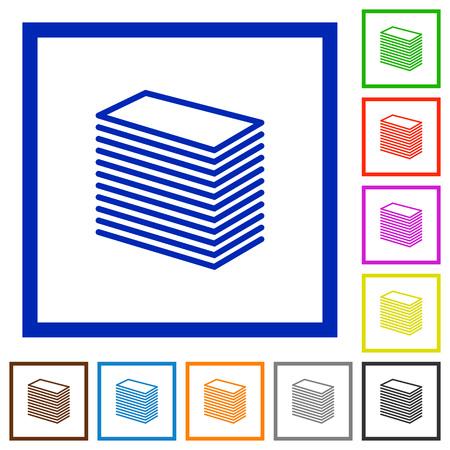 stack of paper: Set of color square framed Paper stack flat icons