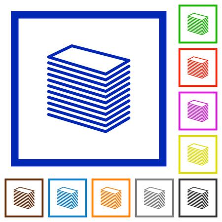 Set van kleur vierkante omlijst Papier stapel vlakke pictogrammen Vector Illustratie